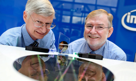 No Repro Fee…..  Managing Director of Intel Labs Mike Mayberry and Dr. Kieran Drain, CEO of Tyndall National Institute, are pictured at the announcement of a $1.5 million research partnership between Intel and Tyndall which will see the two work together to investigate next-generation materials, devices and photonics technologies to make an impact on the challenges of developing future electronic devices.  Pic Maxwell's - No Repro Fee