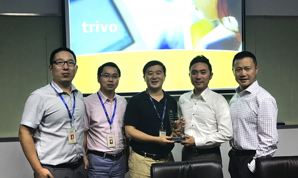 Digi-Key Electronics receiving the award from Trivo